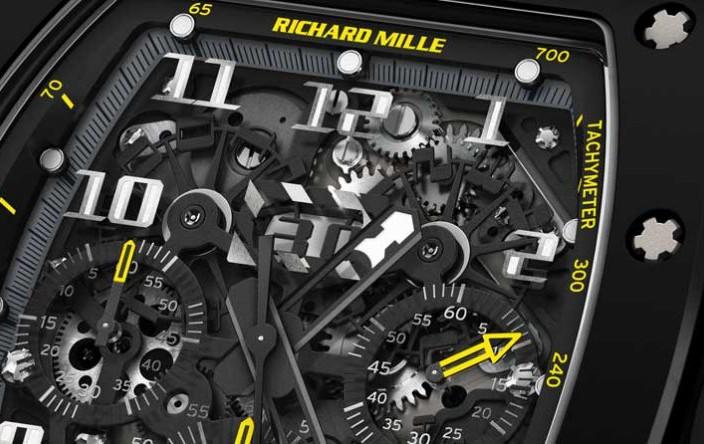 Black Ceramic Replica Richard Mille RM 011 Yellow Flash Split-second Chronograph Timepiece