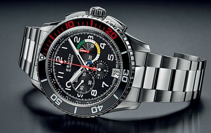 Zenith El Primero Stratos Flyback Rainbow Stainless Steel Black Dial Replica Watch