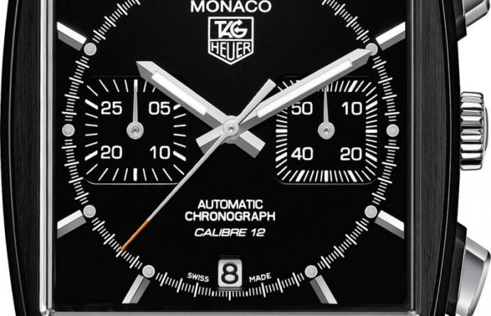 Black Fake TAG Heuer Monaco Heuer Calibre 12 Chronograph Automobile Club de Monaco Watch